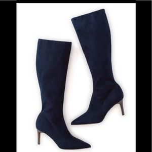 Boden Navy Suede Stretch Boots